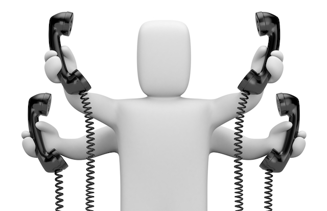 Image of 3d person trying to field multiple phone calls