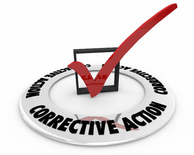3D red checkmark in a box in the center of a circle labeled 'corrective action' depicting a need for process improvements