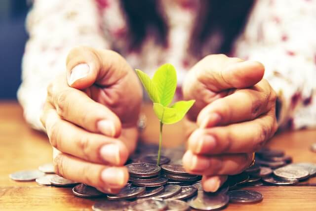 Close up of an elderly woman's hands cupping around a small green plant growing out of a scatting of coins on a wooden desk depicting savings/investing growth for retirement