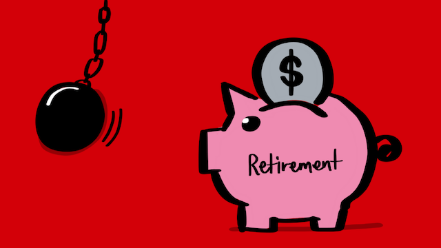 Illustration of a pink piggy bank labeled 'retirement' with a wrecking ball heading towards it depicting financial damage to one's retirement plans